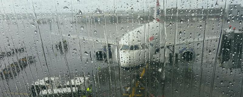 plane in rain
