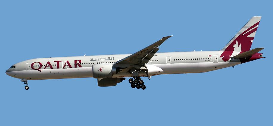 Qatar Airways Plane in Flight