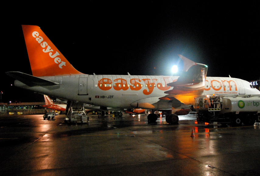 Easyjet Plane on Runway at Night
