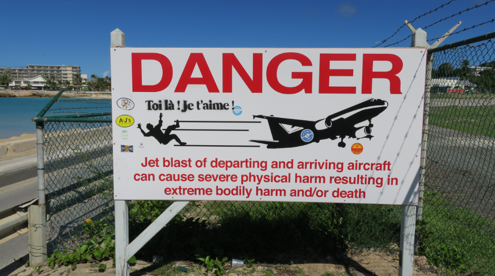 Warning Signs at Maho Beach