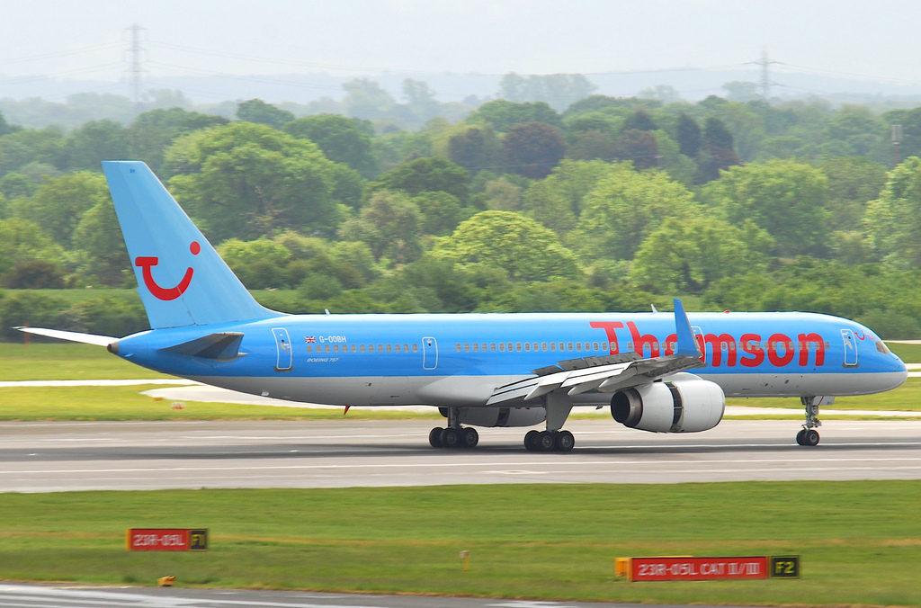 thomson plane on runway